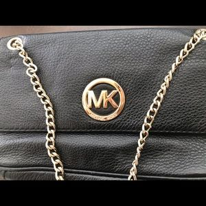 Micheal Kors Bag (Leather,Black with gold accents)